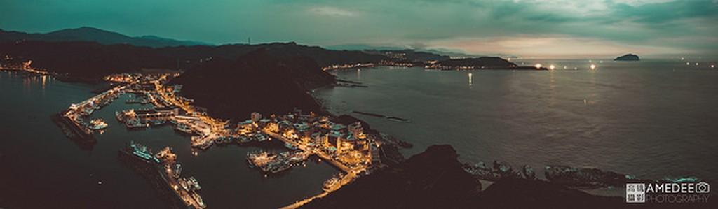 瑞芳深澳漁港旅遊風景全景空拍攝影