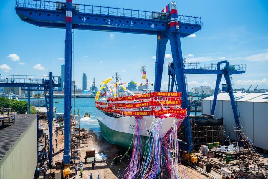 祥鶴水產股份有限公司在旗津中信造船廠祥慶財新船下水典禮活動攝影